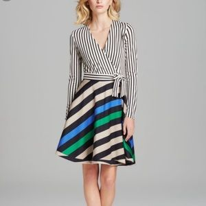 Diane Von Furstenberg Amelia Striped Wrap Dress 6